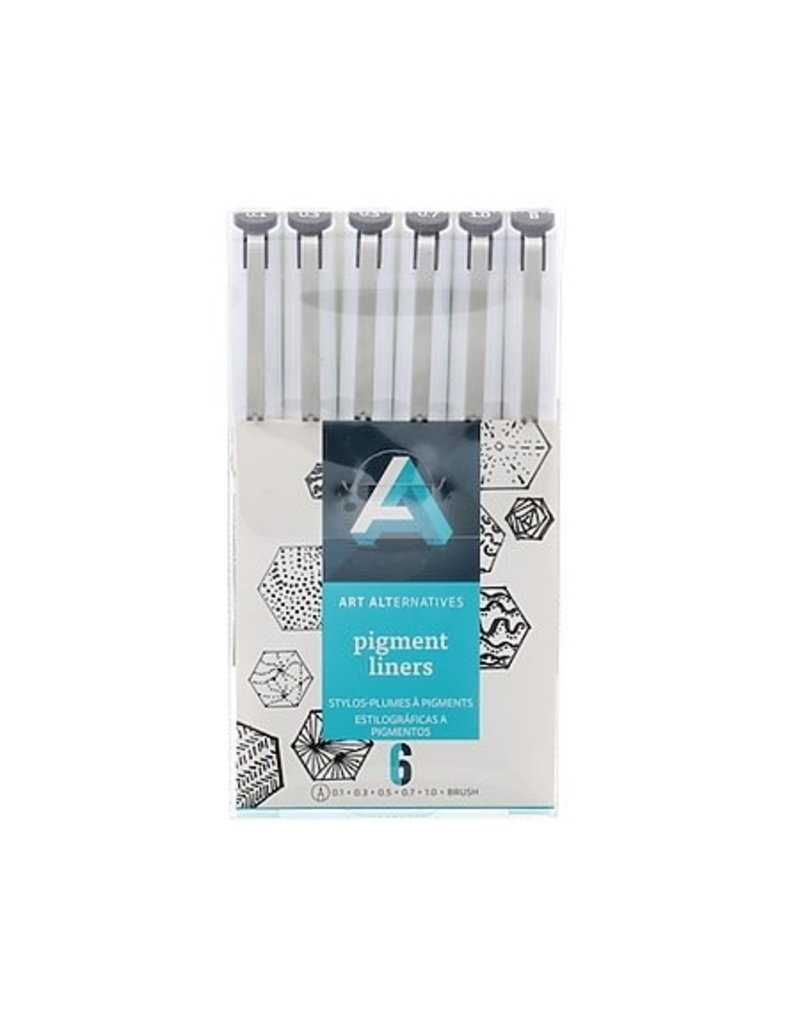 Art Alternatives Pigment Liner Blk 6Pc W/Brush