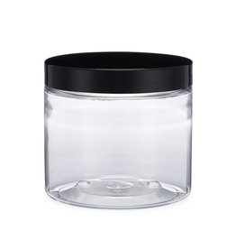 Uline Clear Round Wide-Mouth Plastic- 16 Oz, Black Cap