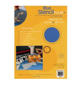GRAFIX Pk/4 .007 Blue Stencil Film 9X12