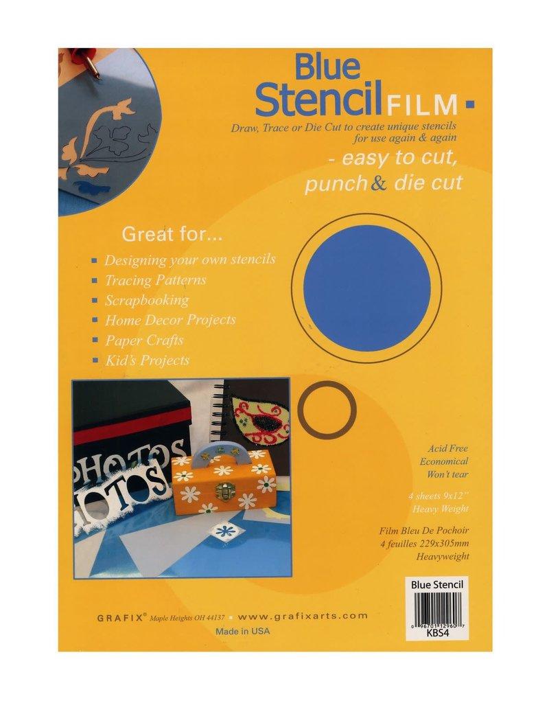 GRAFIX Pk/4 .007 Blue Stencil Film 9X12