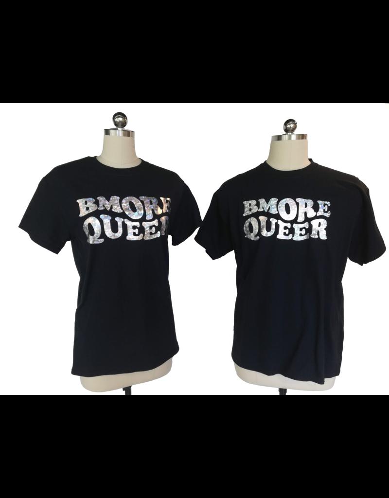 Bmore Queer Holographic Rainbw Black FASQA Tee