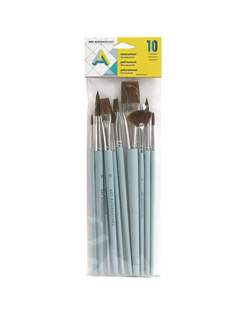 Art Alternatives Watercolor Brushes 10/ Set