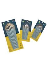 Art Alternatives Economy Brush Sets, Synthetic Short Handle Set - Assorted Shapes - 12 Brushes