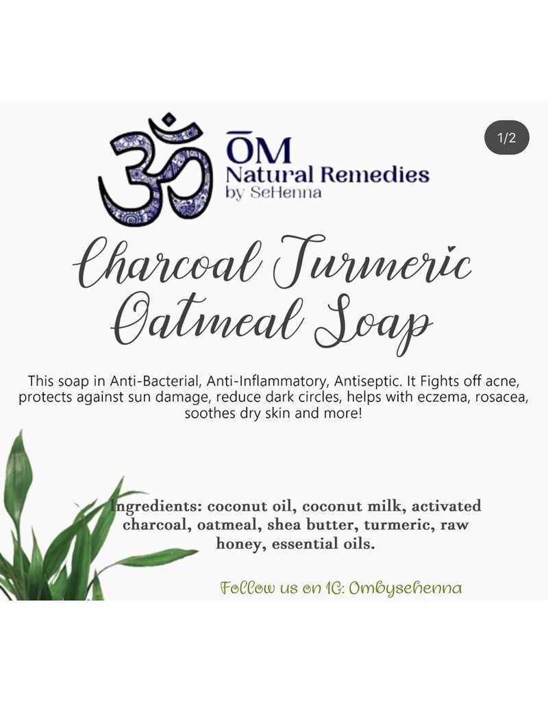 OM By Se'Henna Charcoal Turmeric Oatmeal Face Soap