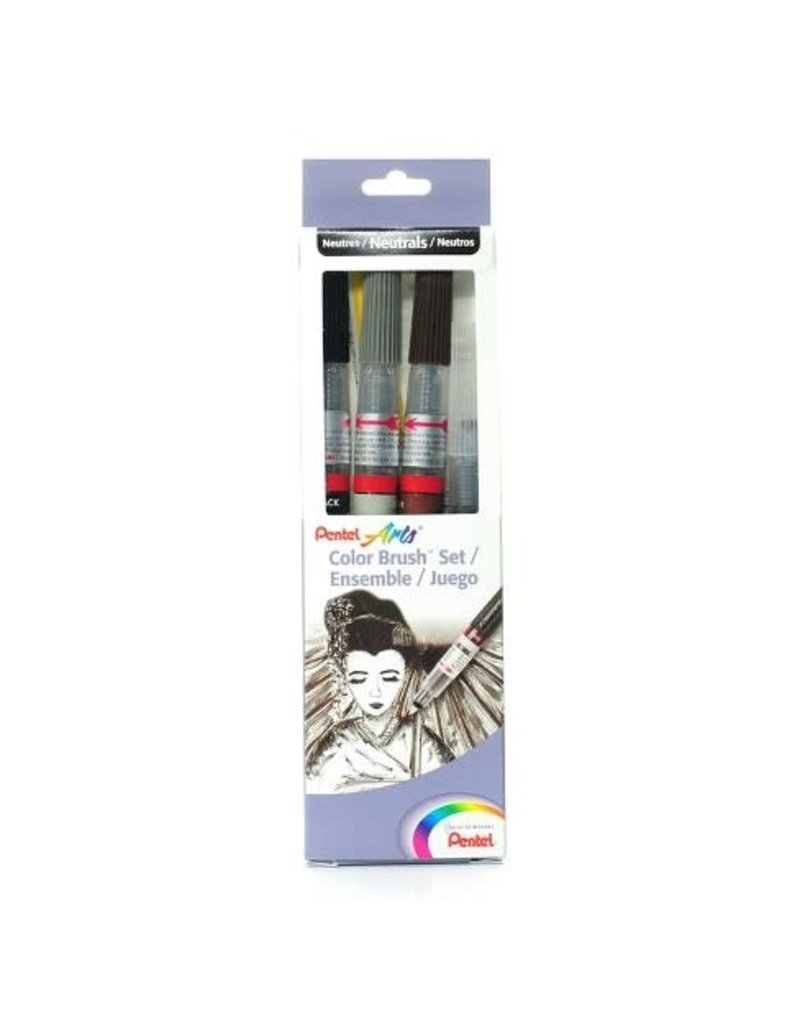 Pentel Color Brush Set Of 4/Pc Carded