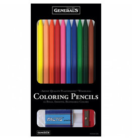 General Pencil Woodless Colored Pencils 12-Color Set, Erasable