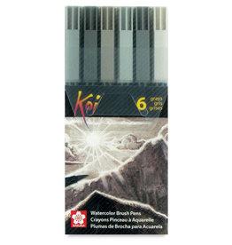 Sakura Koi Color Brush Pen 6 Piece Gray Set
