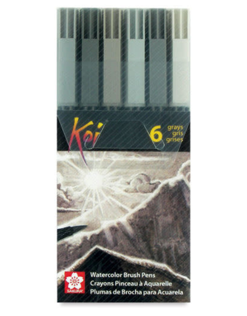 Sakura Koi Color Brush Pen 6 Piece Gray Set