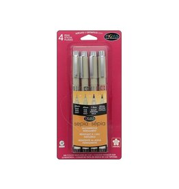 Sakura Sepia Pigma Brush, Graphic & Micron 4-Pen Set, 4 nib sizes