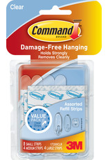 Scotch 3m Command Adhesive Replacement Strip - Clear Asst 16Pk