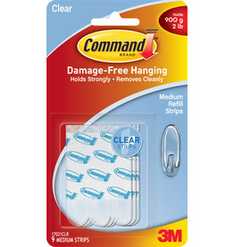 Scotch 3m Command Adhesive Replacement Strip - Clear Medium 9Pk