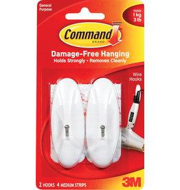 Command Command Adhesive Wire Hook - White Medium 2Pk