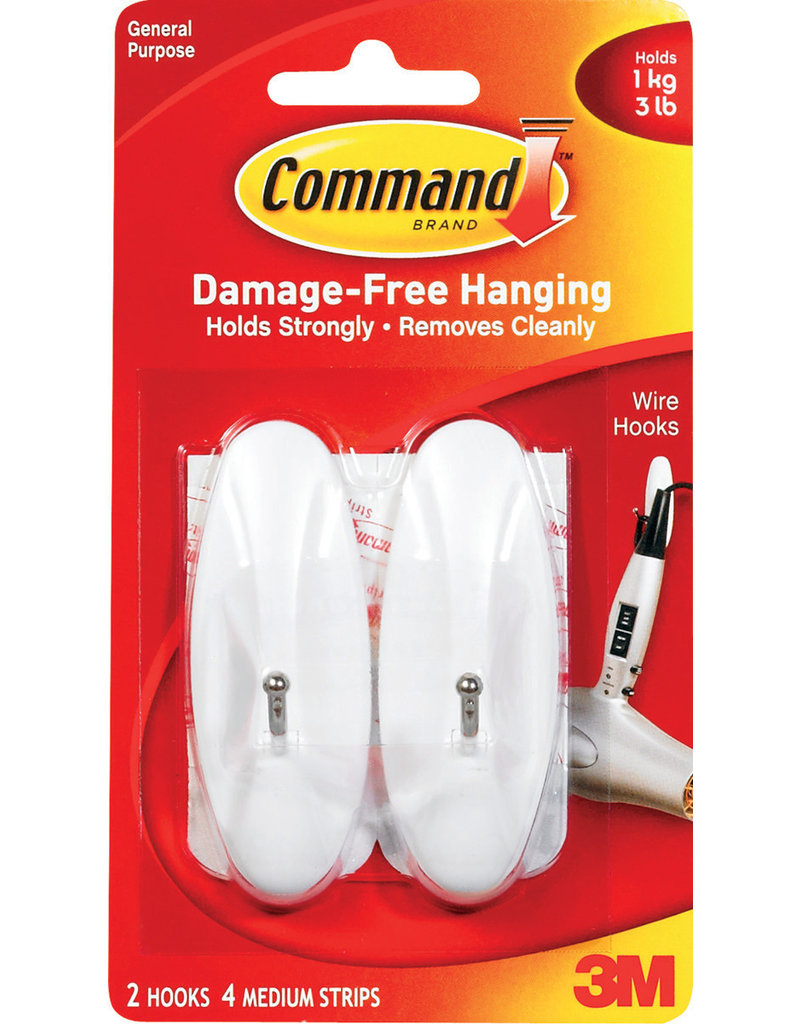 Command Command Adhesive Wire Hook - White Medium 2Pk
