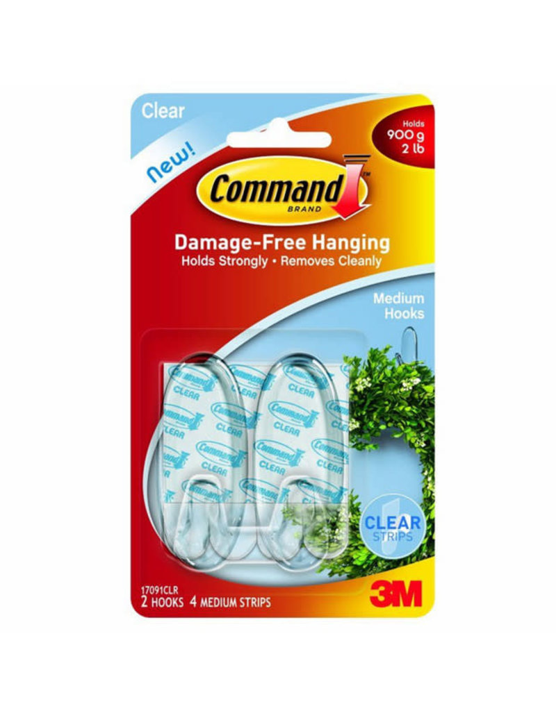 Command Command Clear Hooks with Clear Strips  Medium 2 hooks