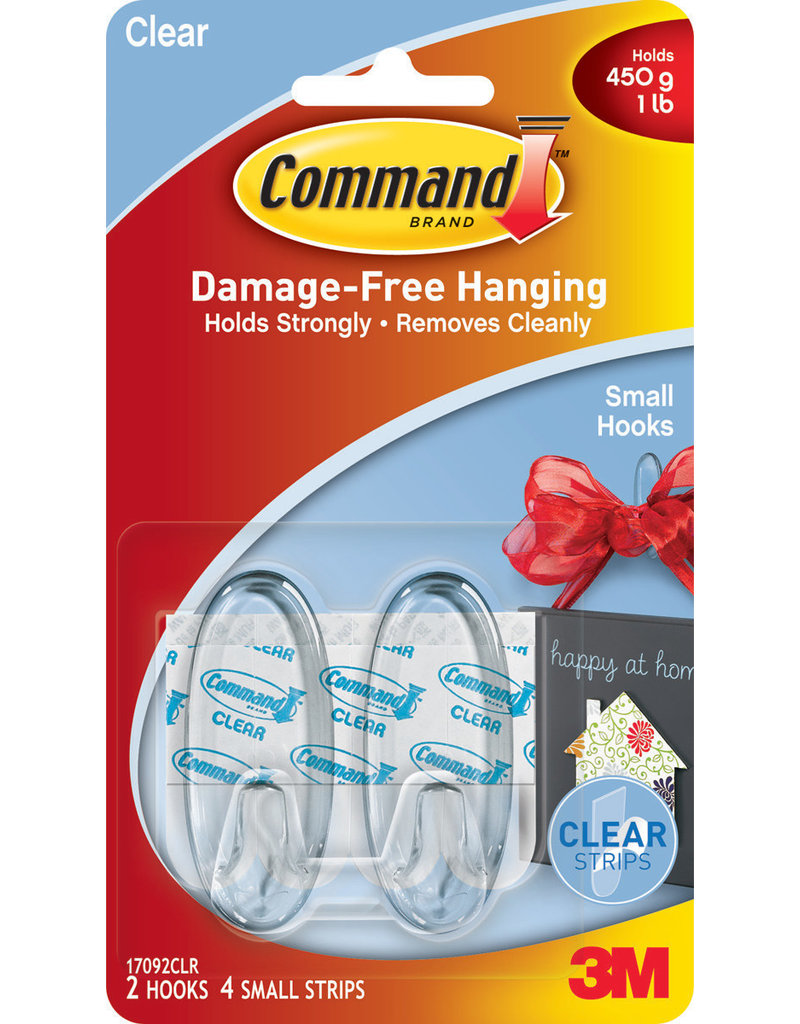Command Command Clear Hooks with Clear Strips  Small 2 hooks
