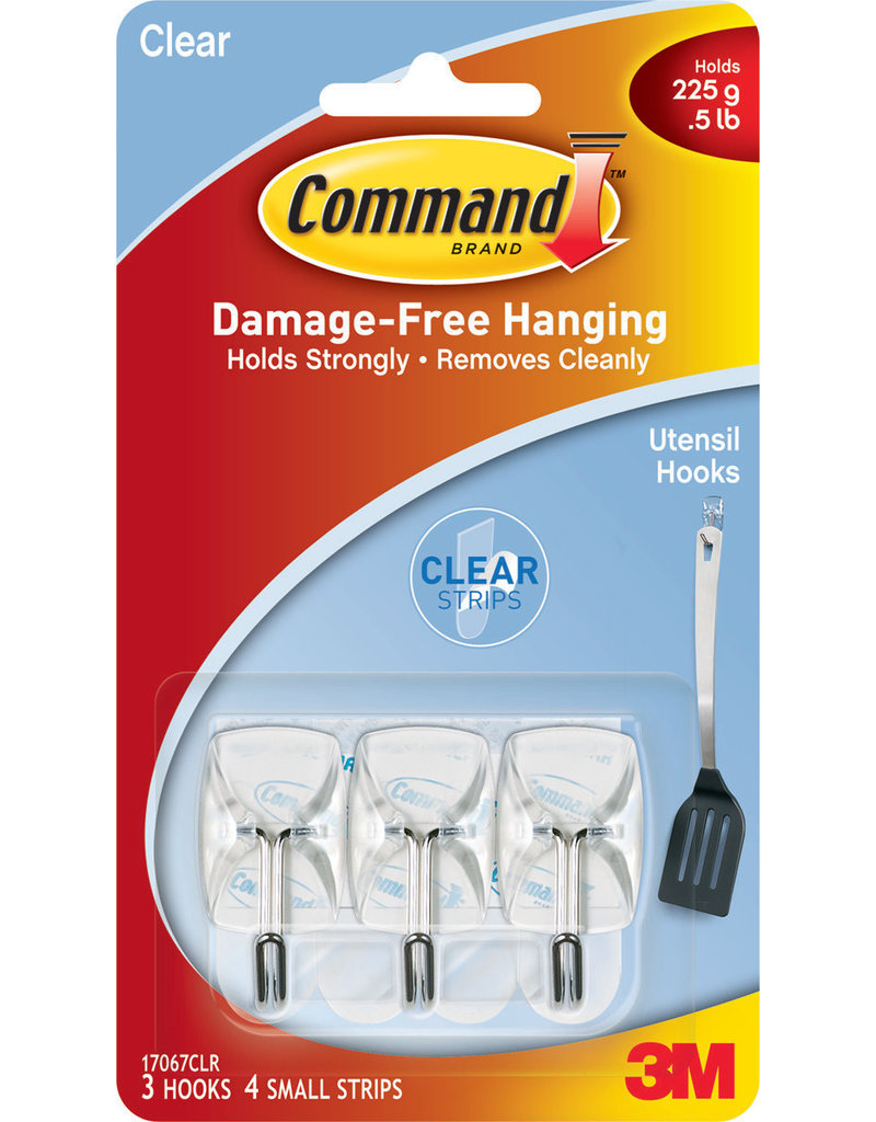 Command Command Clear Wire Hooks With Clear Strips  Small 3 Hooks