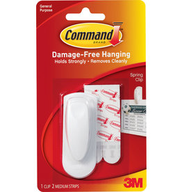 Command Command Adhesive Spring Clip - White Medium 1Pk