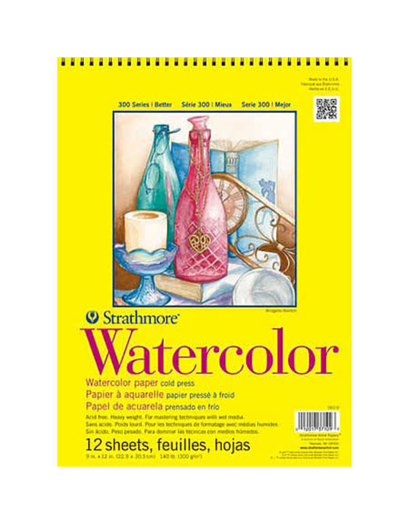 Strathmore Watercolor Paper Pads 300 Series, Tape-Bound, 11'' X 15''