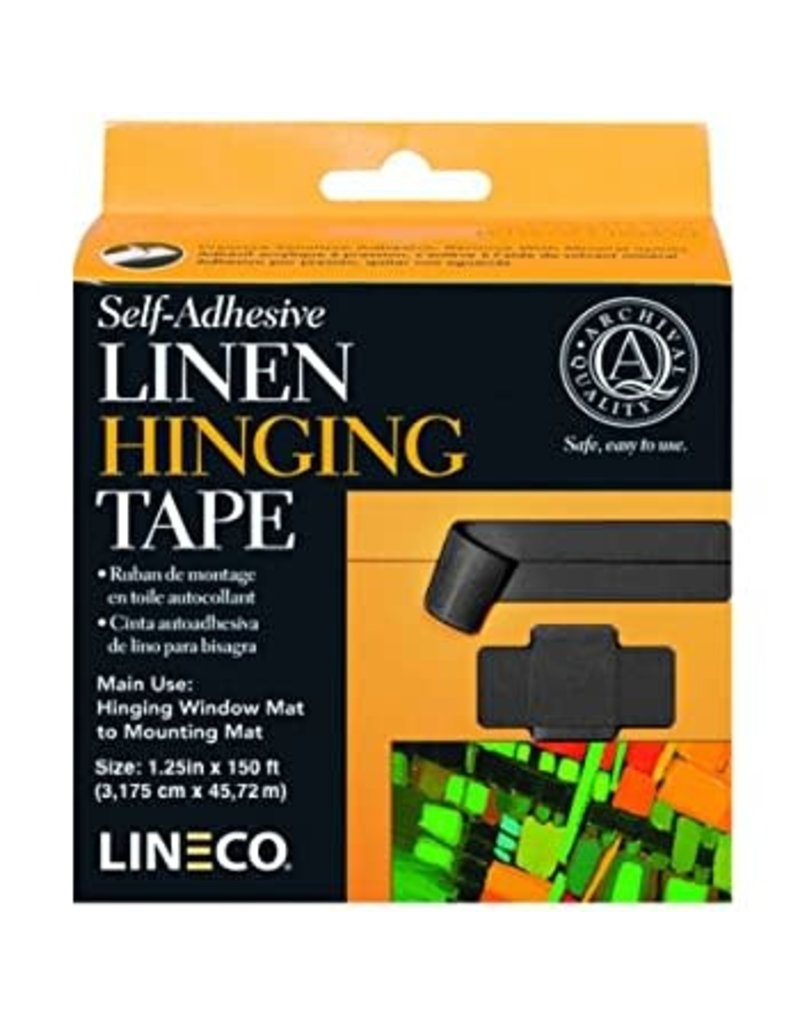 Lineco Linen Tape Black 1 1/4X35Ft- Self Adhsv