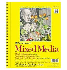 "Strathmore Mixed Media Paper Pads 300 Series, 9"" x 12"" - 40/Sht. Wire Bound Pad"