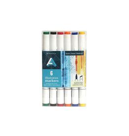 Art Alternatives Illustration Marker Sets, 6-Marker Set Primary Colors