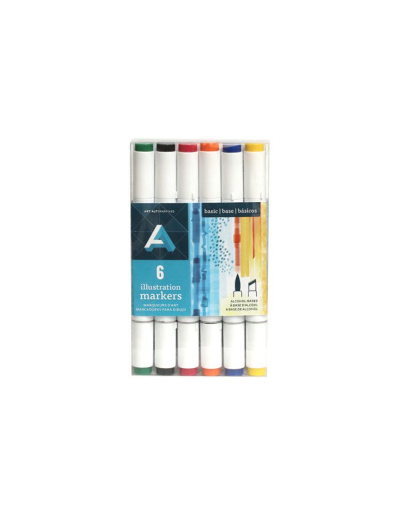 Illustration Marker Sets, 6-Marker Set Primary Colors