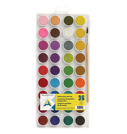 Art Alternatives Watercolor 36-Color Pan Set, Easy-to-mix Colors & Brush