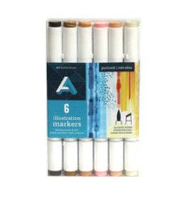 Art Alternatives Illustration Marker Sets, 6-Marker Set Portrait Colors