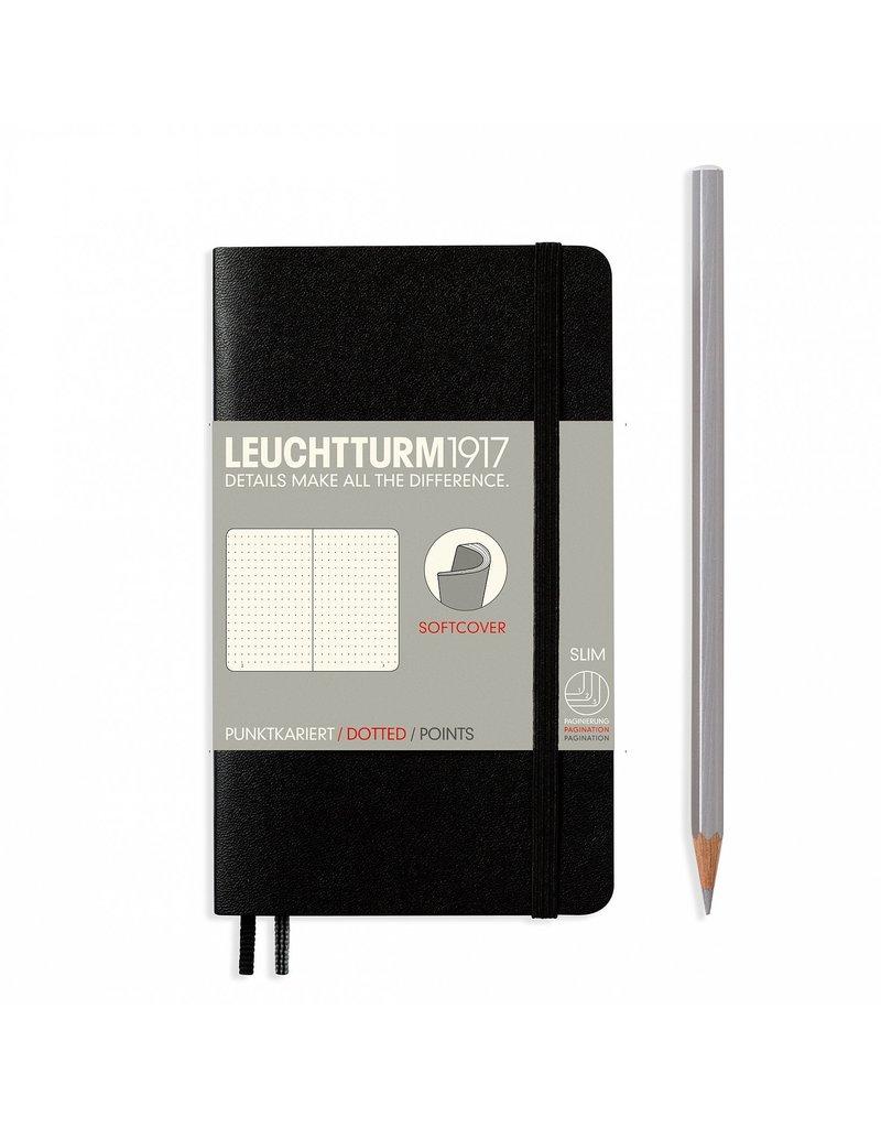 Leuchtturm Leuchtturm Black, Softcover, Pocket (A6), Dotted