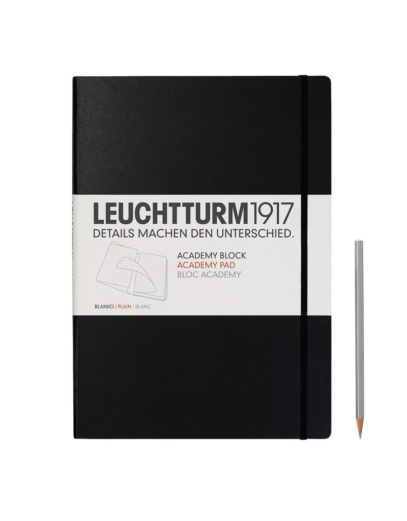 Leuchtturm Leuchtturm Academy Block, Medium, Plain, Black