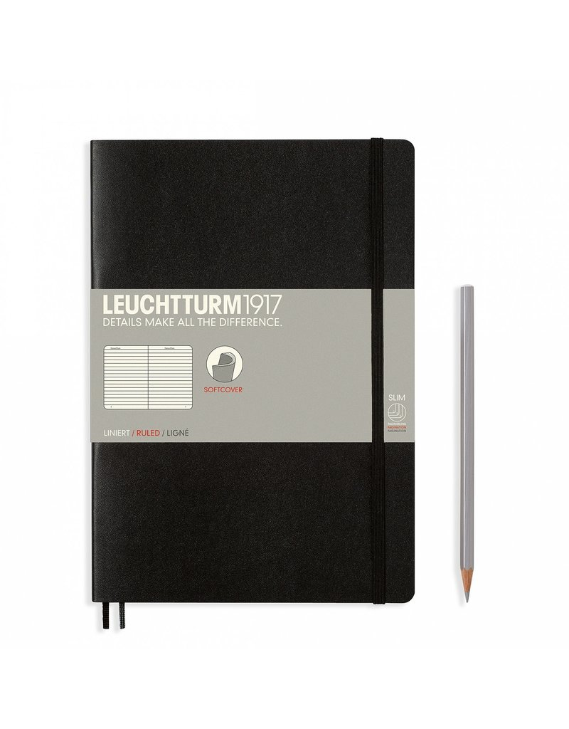 Leuchtturm Leuchtturm Black, Softcover, Composition (B5), Ruled