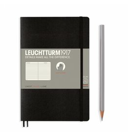 Leuchtturm Leuchtturm Black, Softcover, Paperback (B6+), Ruled