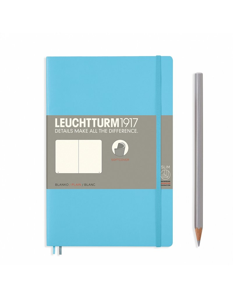 Leuchtturm Leuchtturm Ice Blue, Softcover, Paperback (B6+), Plain