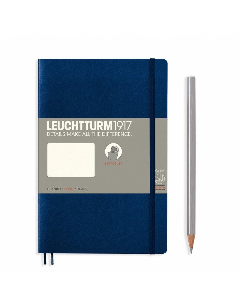 Leuchtturm Leuchtturm Navy, Softcover, Paperback (B6+), Plain