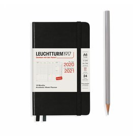 Leuchtturm Leuchtturm Black, Academic Week Planner 18 Months Pocket (A6) 2020 English