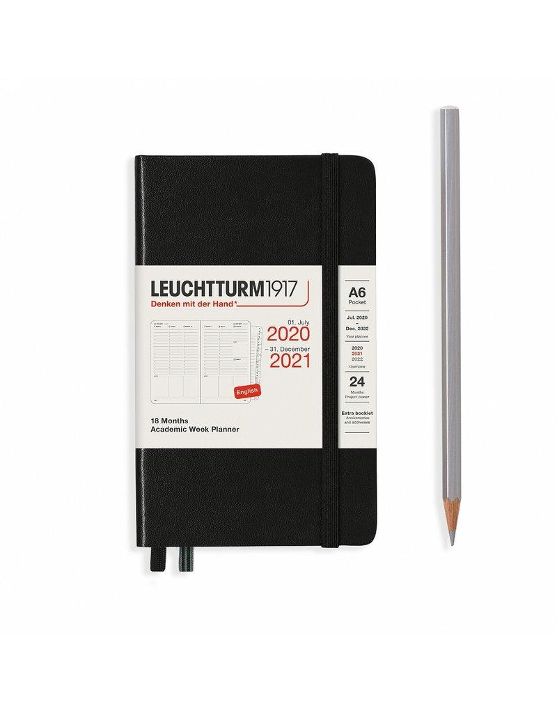 Leuchtturm Leuchtturm Black, Academic Week Planner 18 Months Pocket (A6) 2020 English