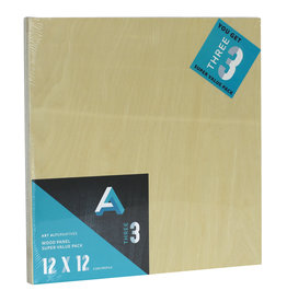 Art Alternatives Wood Panel Super Value Packs Uncradled, 12'' X 12'' 3/Pkg