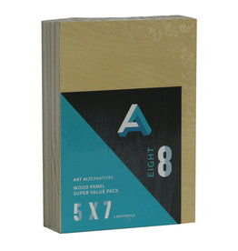 Art Alternatives Wood Panel Super Value Packs Uncradled, 5'' X 7'' 8/Pkg.