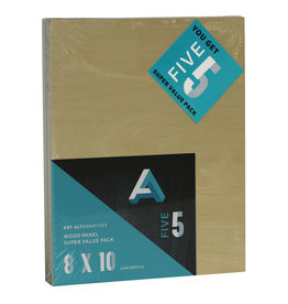 Art Alternatives Wood Panel Super Value Packs Uncradled, 8'' X 10'' 5/Pkg