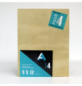 Art Alternatives Wood Panel Super Value Packs Uncradled, 9'' X 12'' 4/Pkg