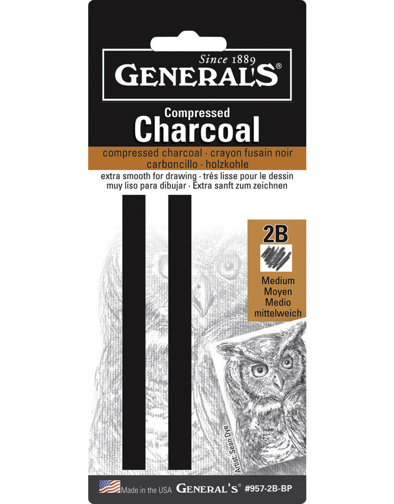 General Pencil Compressed Charcoal Sets, 2B Hard