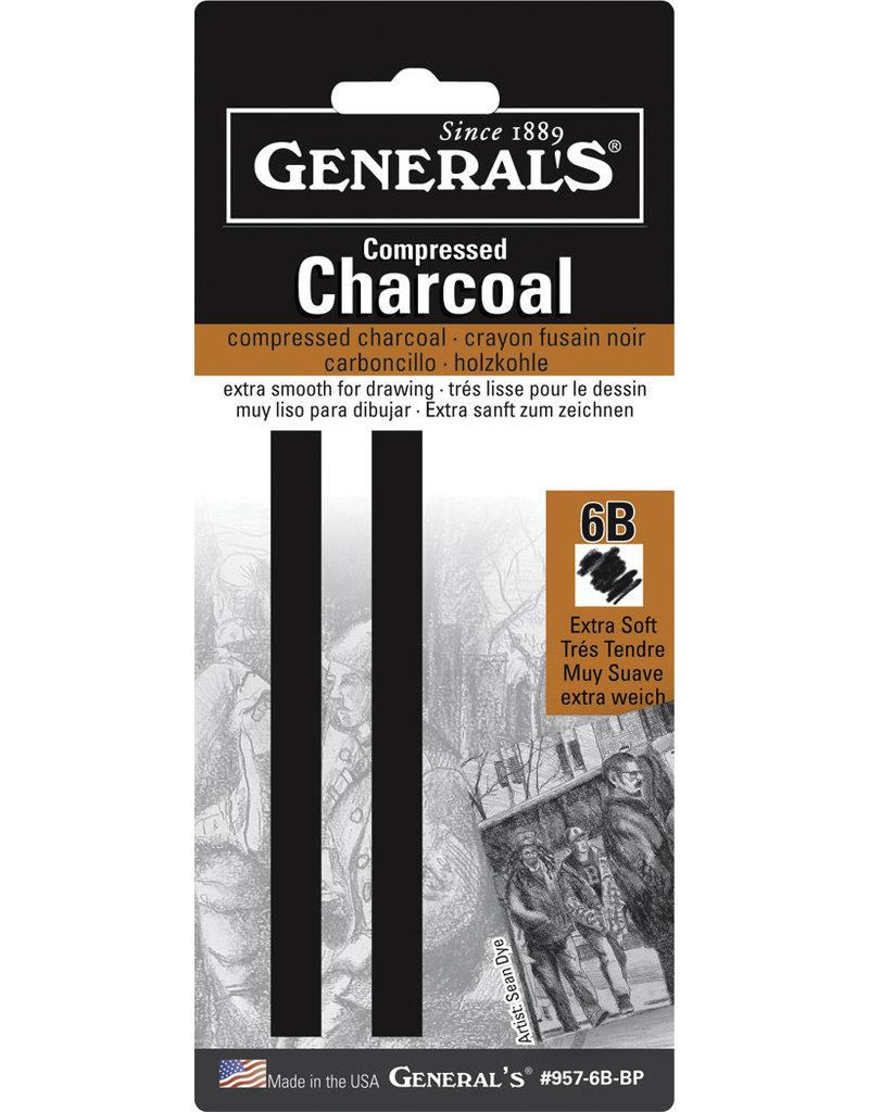 General Pencil Comp Char Squ 6B Soft 2/Cd