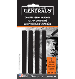 General Pencil Comprs Char 4/Stx Black