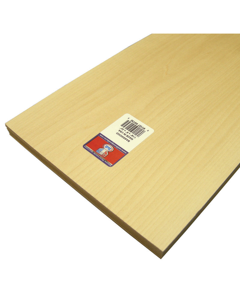 Midwest Basswood Sheet 1/16X8X24