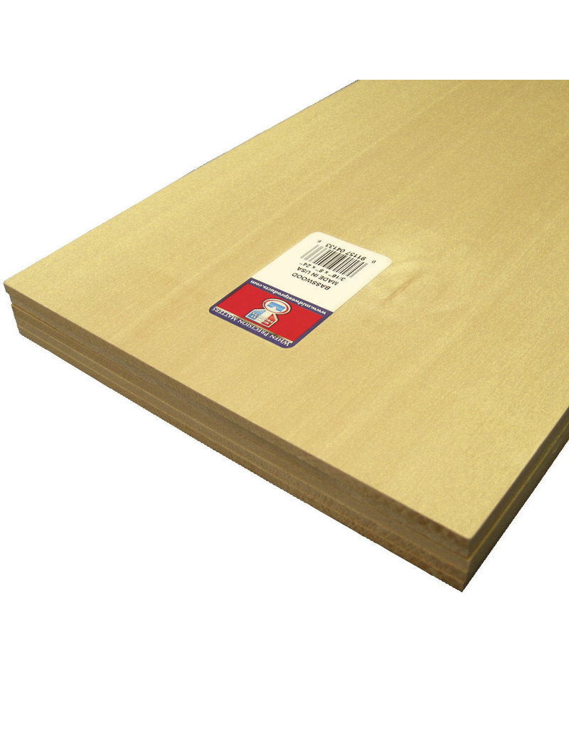 Midwest Basswood Sheet 3/16X8X24