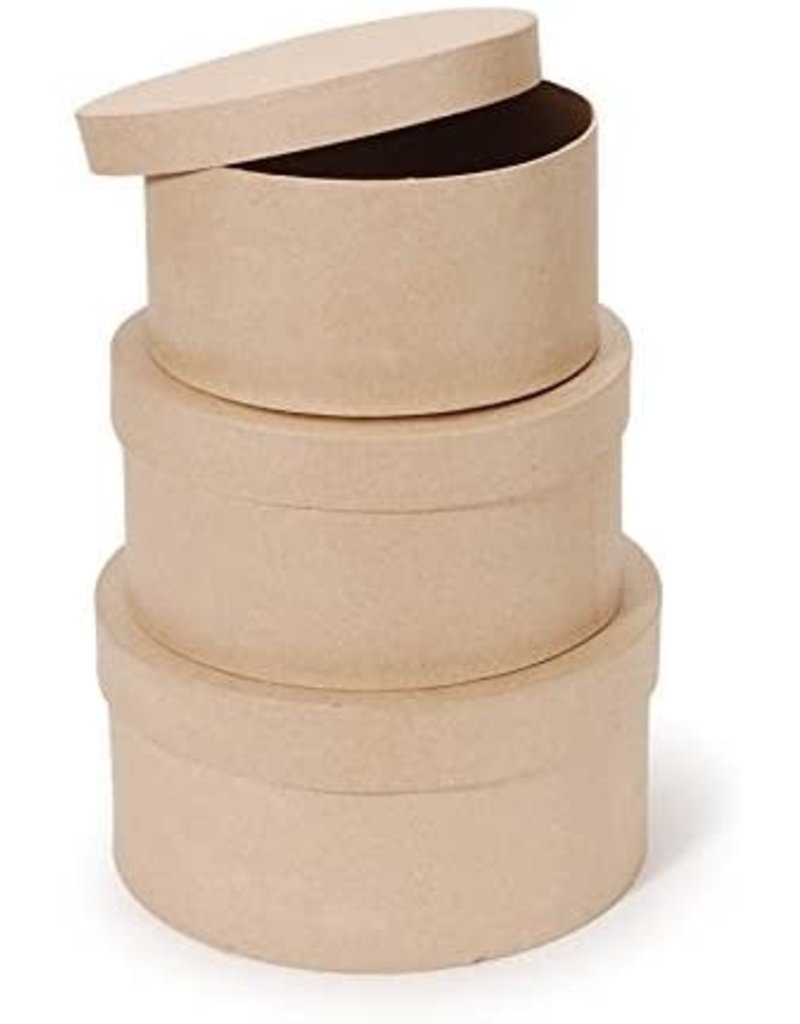 Darice Paper Mache Mini Box - Round - 3 In