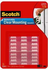 Scotch 3m Scotch Clear Removable Mounting Squares, Squares Measure 11/16''