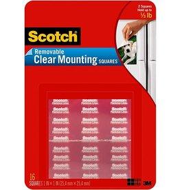 Scotch 3m Scotch Clear Removable Mounting Squares, Squares Measure 11/16''