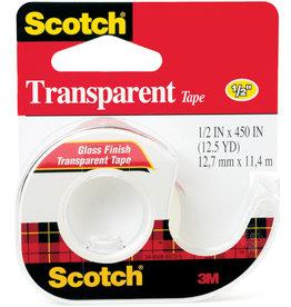 Scotch 3m Transparent Tape, 1/2'' X 450'' Roll
