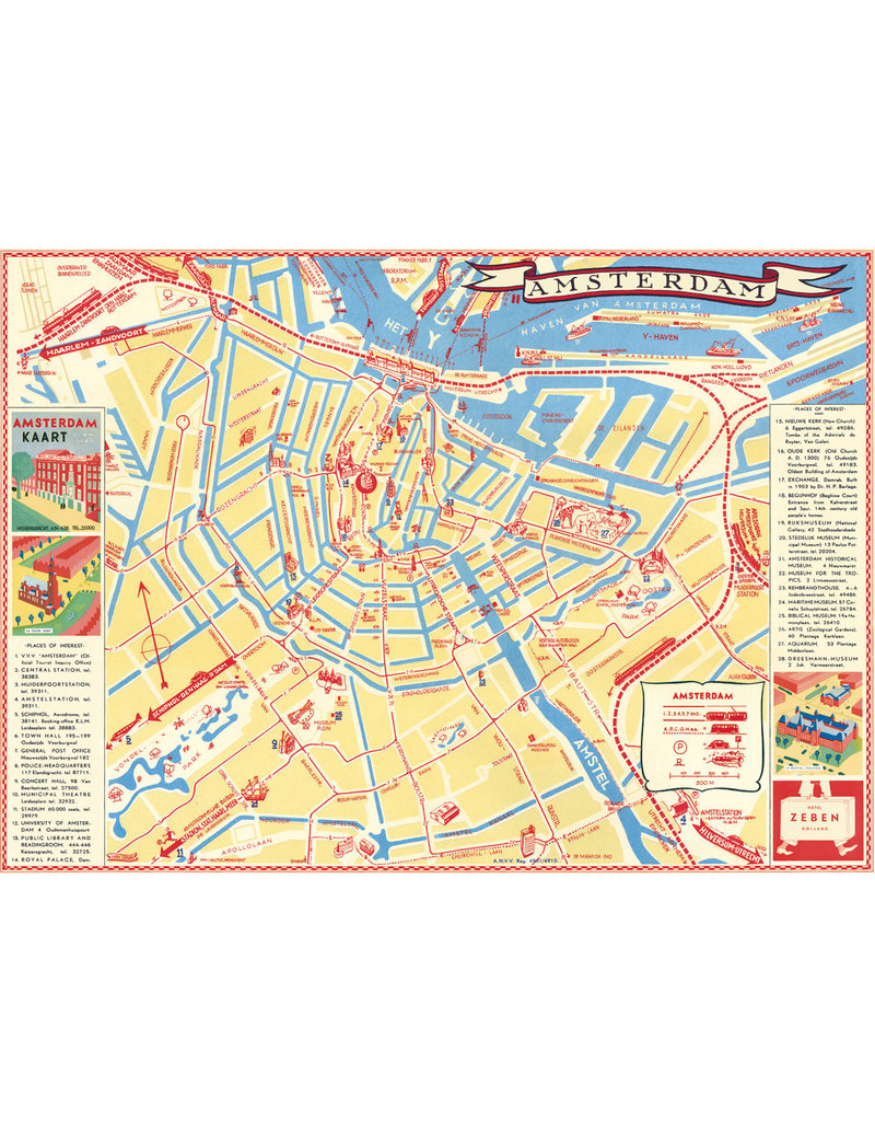 Cavallini Wrap Sheet Amsterdam Map